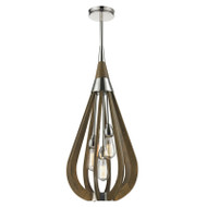 CLA Bonito2 3lt Polished Nickel & Taupe Hanging Pendant Medium