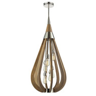 CLA Bonito3 6lt Polished Nickel & Taupe Hanging Pendant Large