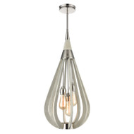 CLA Bonito7 3lt Polished Nickel & Winter Moss Hanging Pendant Medium