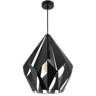 Eglo Carlton1 Large Black & Silver Metal Hanging Pendant