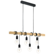Eglo Townshend 6lt Black & Timber Hanging Pendant