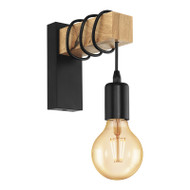 Eglo Townshend Black & Timber Wall Light