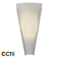Telbix Saffi 12w Frost Glass CCT LED Wall Light Nickel