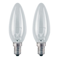GE 25w E14 Incandescent Candle Clear TWIN PACK Suit Touch Lamps