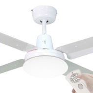 Mercator Swift 130cm White Metal Ceiling Fan With Light & Remote