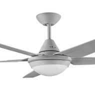 Deka Randle 130cm Silver Plastic Indoor/Outdoor Ceiling Fan & LED Light
