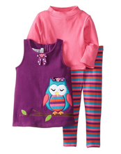 Bonnie Jean Little Girls'Owl Halloween Fleece Appliqued Legging Set  2T