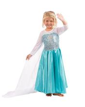 Girls Frozen Princess Sequin Cape Satiny Gown Elsa Dress Sheer Sleeve