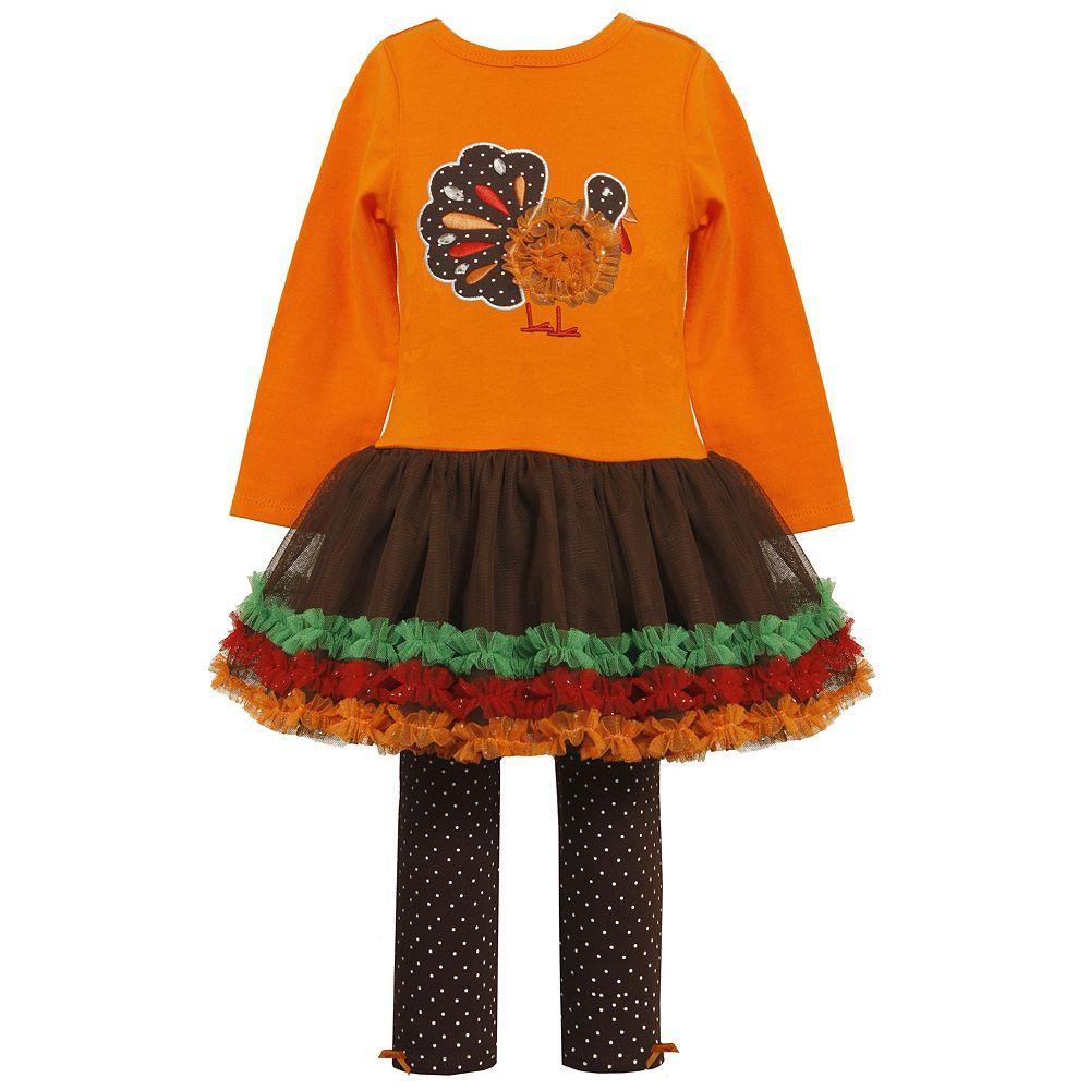a9631cb9e64f4 Bonnie Jean Thanksgiving Turkey Tutu Girls Dress & Leggings Set 2T 3T 4t.  Image 1. Loading zoom