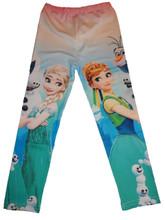 Girls Frozen Tights Elsa Anna Olaf Kids Leggings Pants Trousers Costume  size 5/6