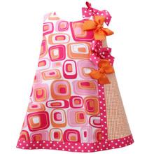 Baby-Infant 12M-24M Fuchsia-Pink Orange Dotted Bows Geometric Print Shift Dress
