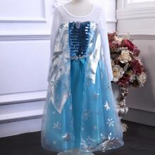 Frozen Elsa Snow Queen Inspired Blue Satin Girls Costume 9 11 13 Years