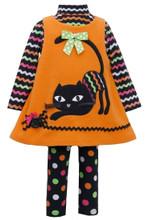 Bonnie Jean Halloween Newborn Girls' Orange CAT Jumper Leggings 3 pc Set 0-24 Months