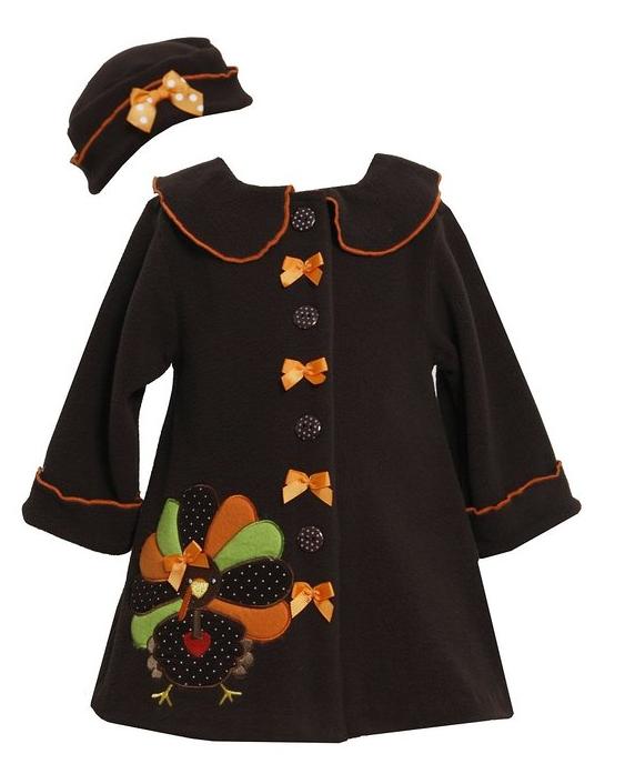 c232a812978d5 Bonnie Baby Baby-girls Turkey Thanksgiving Fall Winter Coat Hat Set ...