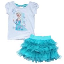 Frozen Girls Outfits Princess Queen Elsa T-shirt Top Tutu Skirt  size 7