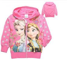 Kids Girls Cartoon Frozen Elsa Anna Sweatshirt Hoodie Pink Long Sleeve Tops