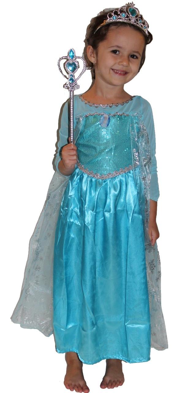 Princess Elsa Inspired Girls Costume Dress - Princess Costume Wand