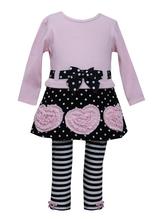 Bonnie Jean Girls Bonaz Heart Fall Winter Dress Legging Outfit, Pink 12 18 24 Months