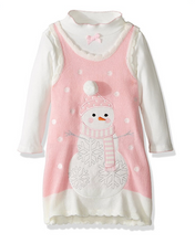 Bonnie Jean Girls Winter Pink Holiday Christmas Snowman Jumper Set 4-6X