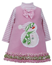 Bonnie Jean Girls Pink Holiday Christmas Snowman Winter Jumper Set 4 5 6 6X