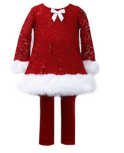 Bonnie Jean Girls  Red Christmas Lace Velvet Santa Dress Legging Outfit  12 18 24 Months