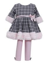 Bonnie Baby-Girls Toddler Cotton Plaid and Fur Legging Set 2T 3T 4T