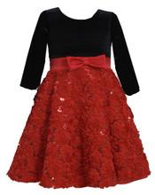 Bonnie Jean Little Girls' Black Stretch To Red Bonaz Christmas Dress 2T-6X