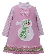Bonnie Jean Girls' Fleece Pink Snowman Jumper Set  12 18 24 Months
