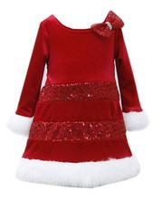 Bonnie Jean Santa Christmas Red Bow Dress Girls 12 18 24 Months