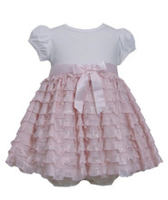 Bonnie Baby  Pink Ivory Knit to Foil Eyelash Ruffle Tier Dress 12 18 24 Months