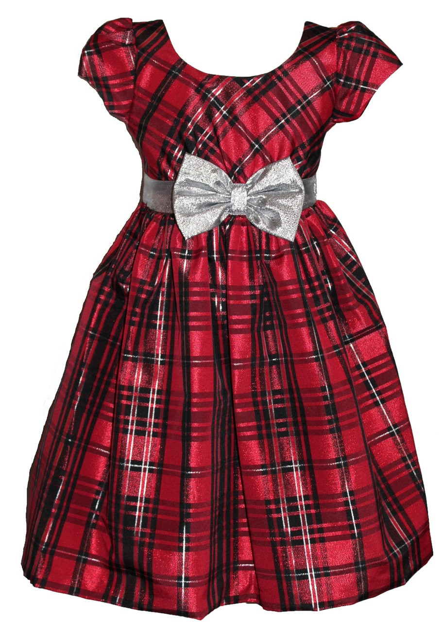 f8af9165c1220 Bonnie Jean Girls Plaid Red Silver Bow Christmas Holiday Dress 4 5 6 6X.  Image 1. Loading zoom