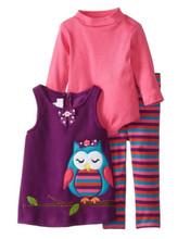 Bonnie Jean Newborn Girls Owl Halloween Fleece Appliqued Legging Set  0-3 3-6 6-9 Months