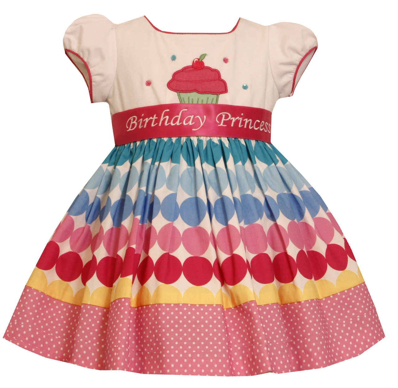 66b1154c4 Bonnie Jean Girls Princess Polka Dot Cupcake Birthday Dress 12 18 24 ...