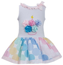 Bonnie Jean  Pink Multicolor Bias Dot Print Birthday Cupcake Dress 2T-6X