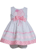 Bonnie Jean Girls Birthday Balloons Eyelet embroidery Pink Dress 12-24 Months