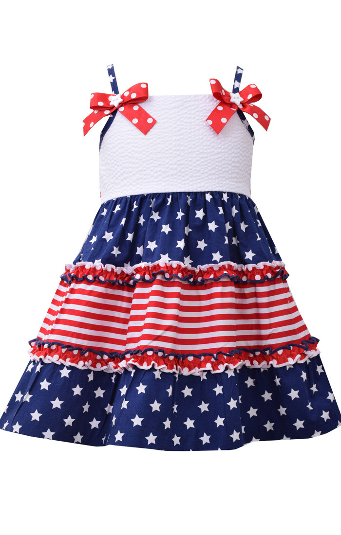 Bonnie Jean Toddler Girls 4th July Patriotic Red Blue White Stars Dress 2T 3T 4T