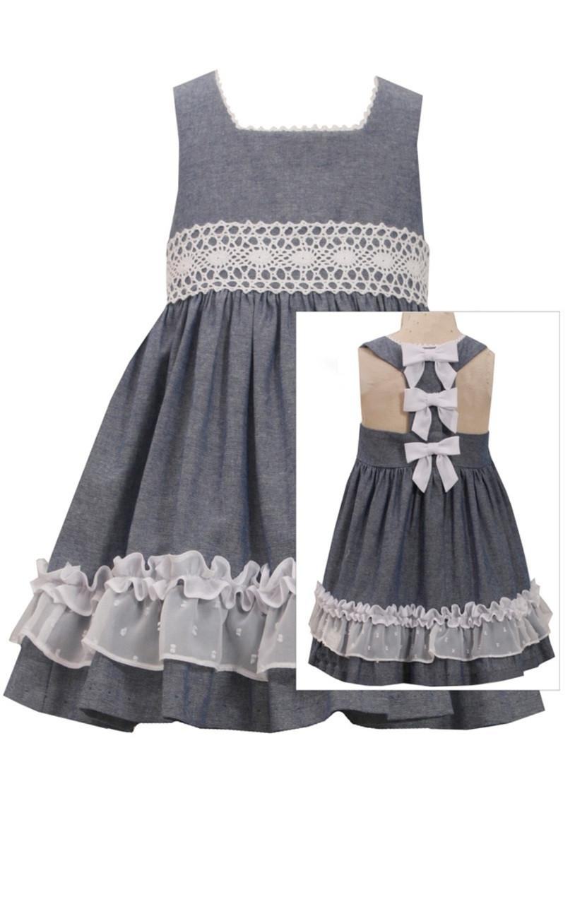 bda797f6fdc Bonnie Jean Chambray Bow Back Lace Summer Dress 2T 3T 4T