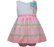 NEW Bonnie Jean Girls Princess Chevron Balloons Bow Birthday Pink Dress 4 5 6 6X