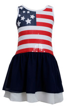 Bonnie Jean Red White Blue 4th July American Flag Little Girls Patriotic Dress 2T-6X