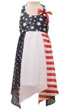 Bonnie Jean 4th July Patriotic  Americana Hanky Hem Dress Big Girls 14