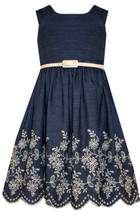 Bonnie Jean Big Girls' Chambray Dress With Embroidered Hem 7-16