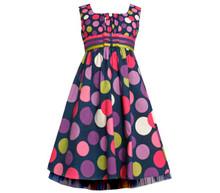Bonnie Jean Girl Plus 14.5-20.5 Navy Multi Twin Dot Triple Ribbon and Bow Dress