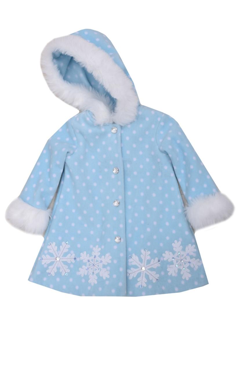 Bonnie Jean Girls Blue Aqua Snowflake Fleece Winter Holiday Coat with Hood