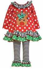 Bonnie Baby Baby Girls' Reindeer Applique Knit Legging Set 2T-6X