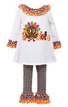 Bonnie Baby Thanksgiving Girls' 2-Piece Gobble Turkey Top & Pants Set 12 18 24 Months