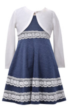 Bonnie Jean Little Girls' Chambray Dress with Knit Cardigan 4-6X