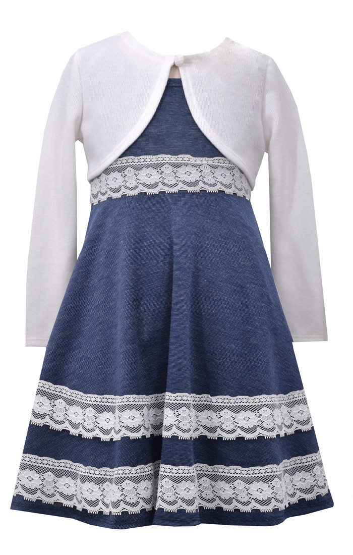 5464b53542c Bonnie Jean Big Girls' Chambray Special Occasion Dress with Knit Cardigan  7-16. Image 1. Loading zoom