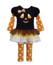 Bonnie Jean Little Girls Halloween Jack O Lantern Dress Legging Outfit, Black 0-24 Months