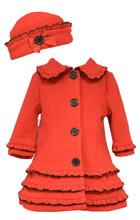 Bonnie Jean Red Coat & Hat with Black Trim & Buttons 2T-6X