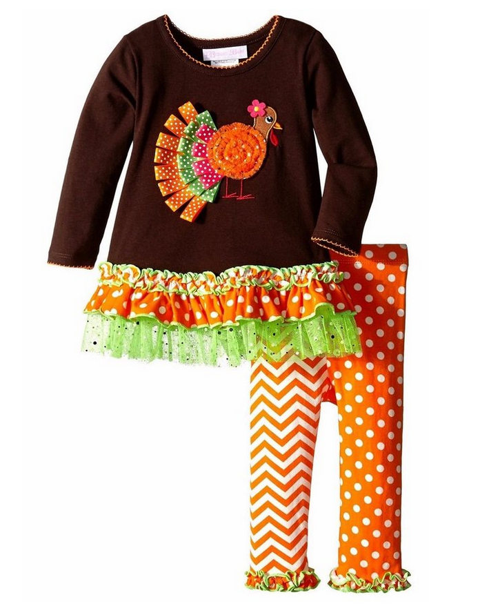 24 months Bonnie Jean Little Girls Ribbon Turkey Appliqued Legging Set